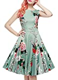 IHOT Vintage 1950's Floral Spring Garden Party Picnic Dress Party Cocktail Dress for Women Light Green Floral XX-Large