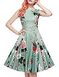 IHOT Vintage 1950's Floral Summer Dress Garden Picnic Party Cocktail Dress