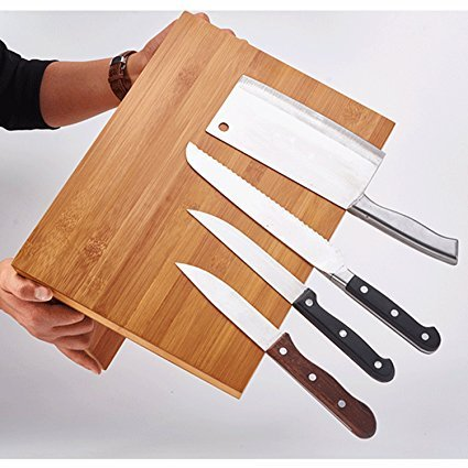 QIKEBamboo Magnetic Knife Block Stand Holder Strong magnetic Compatible with all size knife by QIKE (Image #1)