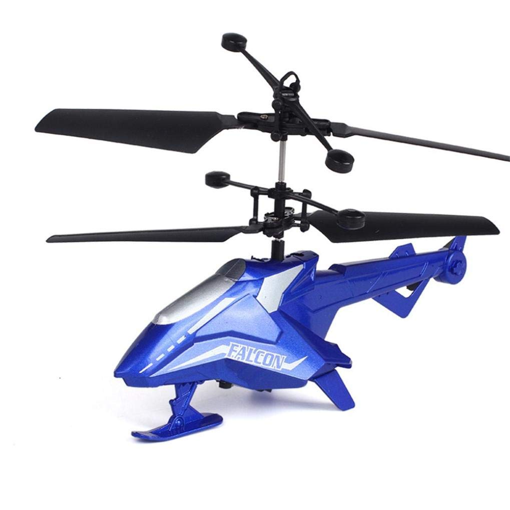 RC Helicopter, Cool Mini Infrared Remote Control Model Plane Toy 2 Channels Built-in Gyro Drone, Durable Crash Resistance for Kids Indoor Outdoor Activity Birthday Christmas Party Gift (Blue)