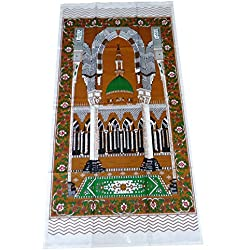 Portable Muslim Prayer Rug Islamic Thin Cloth Namaz Sajadah Camping Backpack Travel Office Sajjadah Dark Brown