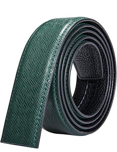 Mens Fashion Belt,Green Ratchet Leather Belt Without Buckle Cowhide Strap Adjustable(Green,51.2'')