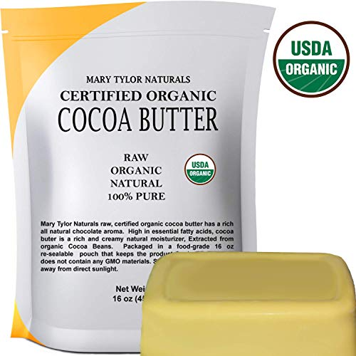 Certified Organic Cocoa Butter Large 1 lb by Mary Tylor Naturals Raw -