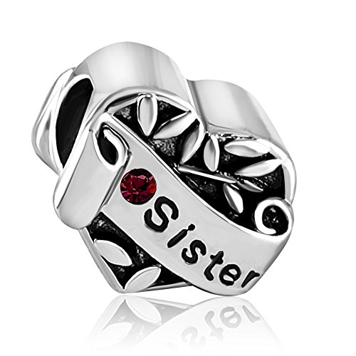 JMQJewelry Love Sister Heart Birthstone January Red Crystal Charm Beads for European Bracelets