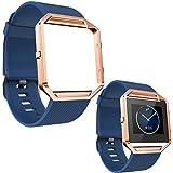 ABC Luxury Soft Silicone Wrist Strap Watch Band + Metal Frame for Fitbit Blaze Watch (Blue )