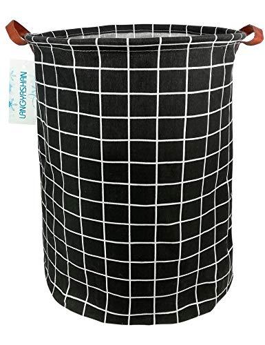 Large Storage Bin,Ramie Cotton/Canvas Fabric Folding Storage Basket with Handles- Toy Box/Toy Storage/Toy Organizer for Boys and Girls - Laundry Basket/Nursery Hamper (Black Grid)