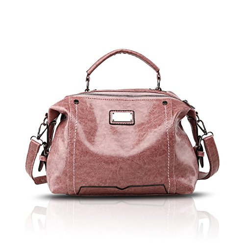 Tisdaini Dama bolso de mano moda casual PU piel bolso bandolera bolsas de Rosa