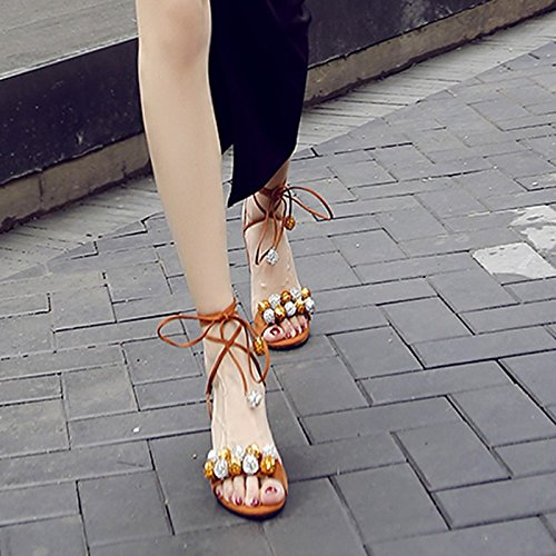 High 8 heel Heels Sandals 5cm fine Toe New 2018 Bandages Fairies Stilettos color Sandals ZHANGYUSEN Apricot wUCq7YS