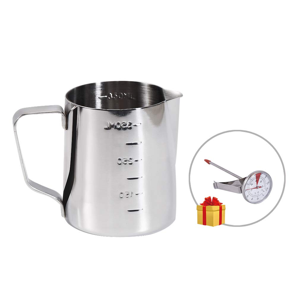 Coffee Milk Frothing Pitcher 12oz/350ML with Thermometer set, Stainless Steel Tool Cup, Measurement inside, Perfect for Cappuccino Machines, Espresso Steaming Pitcher and Latte Art