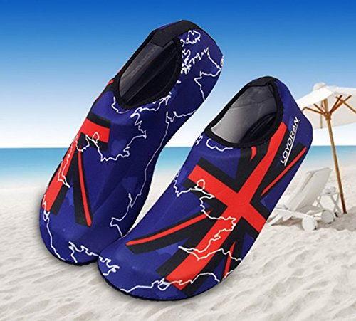 Panegy Mens Womens Atmungsaktives Mesh-Outdoor-Soft-Sohle Anti-Rutsch-Fuß Waten Slip-On Water Skin Schuhe Blauer Union Jack