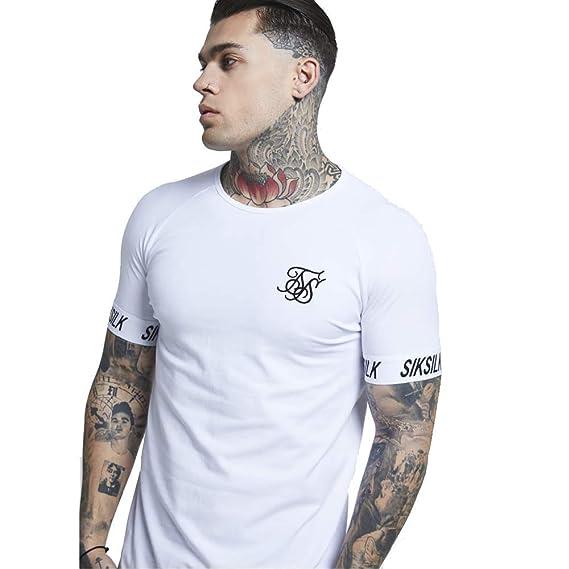 021edd88bbe2 SikSilk S/S Raglan Tech T-Shirt White-L: Amazon.co.uk: Clothing