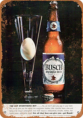 Wall-Color 7 x 10 Metal Sign - Eggs in Your Beer Busch Bavarian Beer - Vintage Look (Bavarian Eggs)