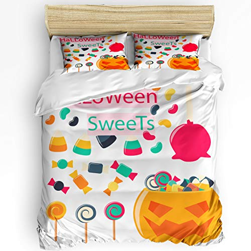 Clouday Twin Duvet Cover Set 3 Pieces Bed Sheet Set for Women Men,Trick or Threat Cartoon Sweets Pumpkin Happy Halloween Bedding Sets Home Collection,Include 1 Comforter Cover with 2 -