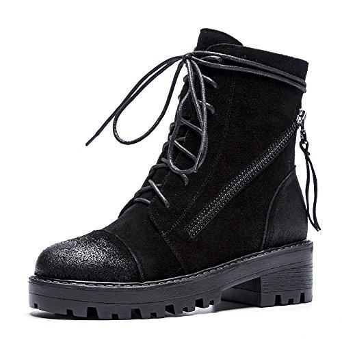Q1901 Inverno Stivaletti KJJDE Autunno Innovativo Nubuck Black Donna 35 Stivaletti WSXY Pelle Piatto Comoda 0T0wz