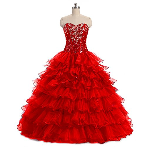 441690555d0 Diandiai Women s Sweetheart Beaded Quinceanera Dresses Crystal Organza Ball  Gown Prom Dress Red 18 - Buy Online in Oman.