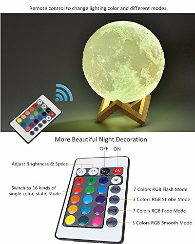 """3D Printing Moon Lamp 7 Color with Wood Stand Base Home Decorative Table Desk Lamp Dimmable Touch Control with Remote Control USB Rechargeable (15cm/5.9"""") Light Creations"""