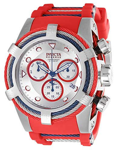 Men's Bolt Stainless Steel Quartz Watch with Silicone Strap, red, 36.8 (Model - Invicta 27146