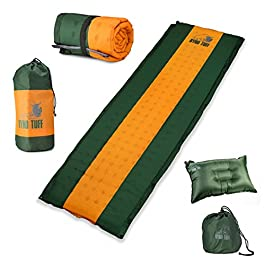 Ryno Tuff Sleeping Pad Set, Self Inflating Sleeping Pad with Free Bonus Camping Pillow, The Foam Camping Mattress is…