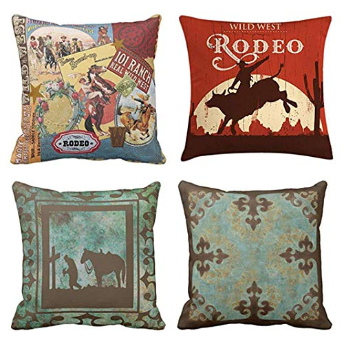 Emvency Set of 4 Throw Pillow Covers Vintage Western Cowboy Wild Modern West Rodeo Riding Bull Wooden Decorative Pillow Cases Home Decor Square 18x18 Inches Pillowcases (Rustic Turquoise Throw Pillows)