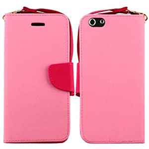 "LF 4 in 1 Bundle For Apple Iphone 6 Plus (5.5"""") - Pink White 2 Tone Card Holder Wallet Stand Case, Stylus Pen, Screen Protector & Wiper (Wallet Pink)"