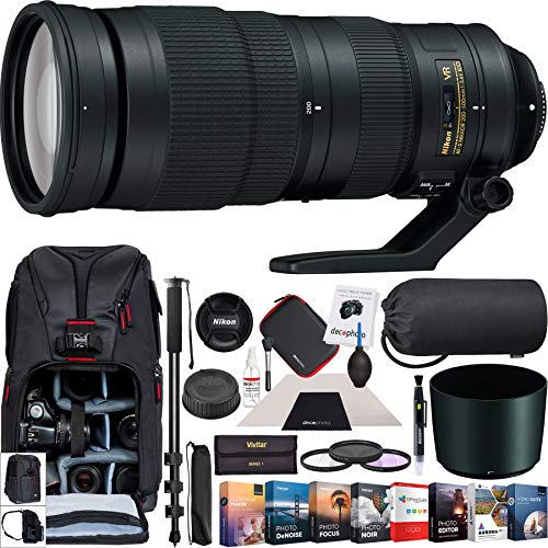 Nikon AF-S FX Full Frame NIKKOR 200-500mm f/5.6E ED Zoom Lens Bundle with Photo and Video Professional Editing Suite, Camera Sling Backpack, 95mm Filter Kit, 72-Inch Monopod and Cleaning Kit (Best Wildlife Lens For Nikon D500)