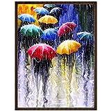 لوحة فنية ماسية بالكامل خماسية الابعاد لمشهد اشخاص بمظلات تحت الامطار، ذاتية التركيب، تستخدم كملصق للحائط لتزيين المنزل…