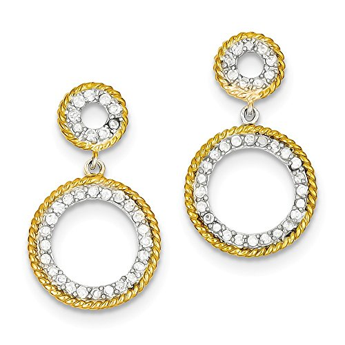 Sterling Silver & Vermeil CZ Circle Post Earrings