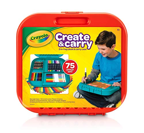 (Crayola Create 'N Carry 75Piece Art Kit Art Gift for Kids 5 & Up, 2-in-1 Portable Lap Desk & Carry-Case for Child Artists On-The-Go, Includes Markers, Crayons, Colored Pencils & Paper, Styles May Vary (Renewed))