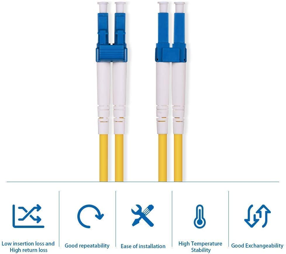 33ft 9//125 Singlemode UPC Polish LSZH 5-Year Warranty 10G SFP+ Application for 1G SFP OS2 LC to LC Duplex Fiber Patch Cable 10m Length: 1m to 50m Media Converter