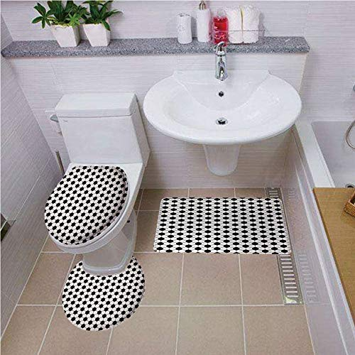 Bath mat Set Round-Shaped Toilet Mat Area Rug Toilet Lid Covers 3PCS,Soccer,Abstract Football Ball Pattern Monochrome Geometric Design Sports Fun Activity Decorative,Black White,3D Digital,Printing ()