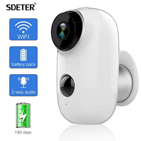 Cámara de Seguridad para Exteriores SDETER, Sistema de vigilancia inalámbrico con batería Recargable 1080P,