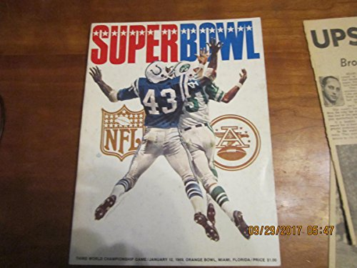 Superbowl 3 1969 world championship Football Program Paper Jets vs Colts from P&R publications