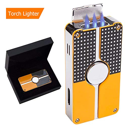 Cigar Lighter,Triple Jet Flame Butane Cigarette Torch Lighter with Built in Cigar Punch-Windproof-Refillable-Butane Fuel NOT Included (Yellow) ()