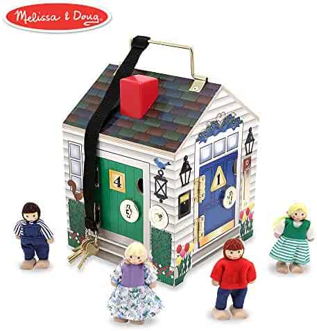 Melissa & Doug Take-Along Wooden Doorbell Dollhouse (Doorbell Sounds, Keys, 4 Poseable Wooden Dolls, 9