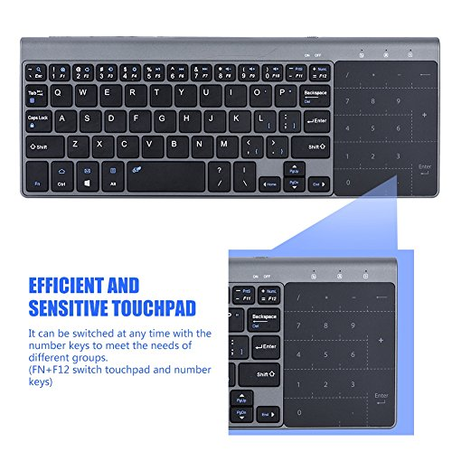 fosa 2.4Ghz Wireless Keyboard, Portable Slim Wireless Handheld Keyboard with Touchpad, Fast-Charging for iOS, Windows System/PC/Notebook/TV Box/Computer so on by fosa (Image #2)