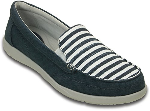 Crocs - Womens Walu Ii Stripes Loafer Shoes, Size: 9 B(M) US Womens, Color: Navy/White