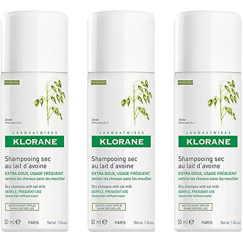 1 Ounce Aerosol (Klorane Dry Shampoo with Oat Milk Aerosol, 1 Ounce, 3 pack)