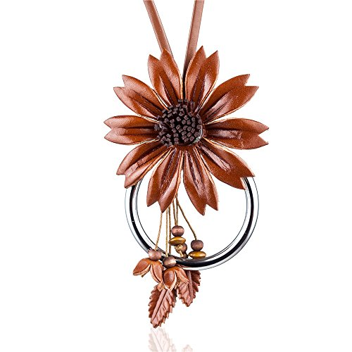 Coostuff Beautiful Genuine Leather Flower Pendant Necklaces Plant Jewelry Long necklace women for Women gift colar choker (Brown) ()