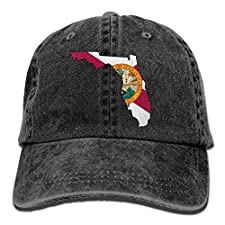 Ariosto0 Florida State Map with Flag Vintage Jeans Baseball Cap for Men and Women