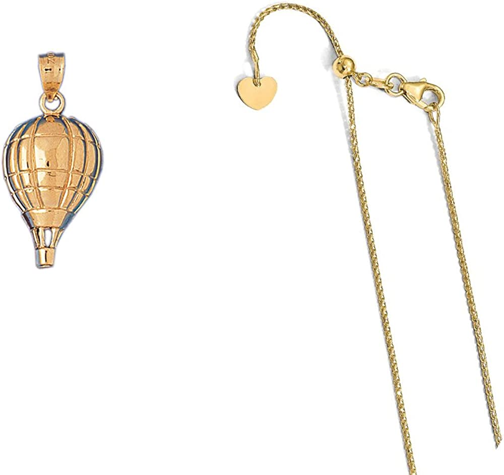 14K Yellow Gold Hot Air Balloon Pendant on an Adjustable 14K Yellow Gold Chain Necklace