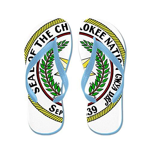 Cafepress Great Seal Of The Cherokee Nation - Flip Flops, Grappige String Sandalen, Strand Sandalen Caribbean Blue