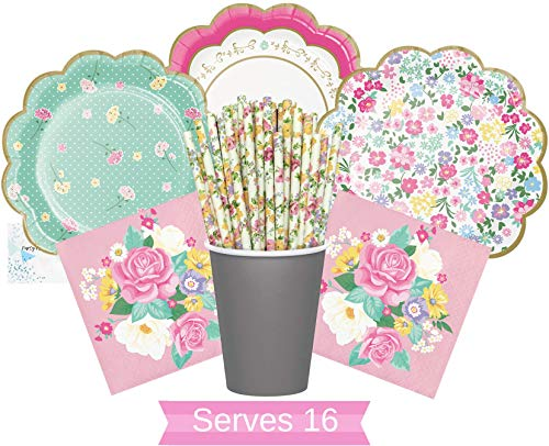 Garden Floral Party Supplies - Pink Floral Party Plates and Napkins Cups & Straws for 16 People - Perfect Floral Party Supplies for Birthday, Bridal Shower, Baby Shower, Bachelorette & All Lavish Events!