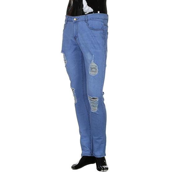 LuckyGirls Pantalones Hombre Vaqueros Rotos Chandal Slim Fit Skinny Fitness Pantalones Casuales Elasticos Agujero Pantalón Chándal: Amazon.es: Ropa y ...