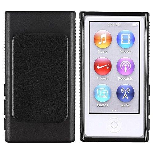 Theo&Cleo For iPod Nano 7 7th G TPU Rubber Gel Soft Skin Cover Case w/Belt Clip Black