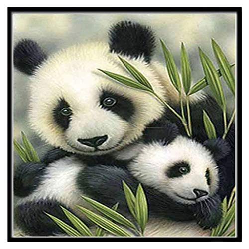 (Chenway Large Size Diamond Painting 5d Animal Pattern DIY Adult Painting - by Number Kit Cross Stitch Rhinestone Wall Sticker for Home Decoration (Panda Mother -)