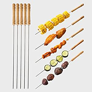 12 pcs BBQ Skewer Metal Chromium Plating+Wood Handle Roast Needle Barbecue Tools