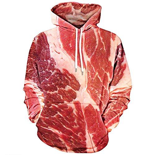 (Mens Printed Hoodies,DBHAWK 3D Wolf Patterned Pullover Hooded Sweatshirt Hoody (L, Red -Pork Belly))