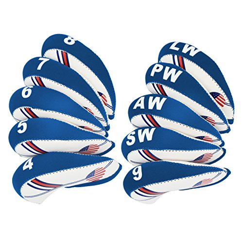 Golf Club Headcovers Wedge Iron Protective Headcover with Golf White & Blue US Flag Neoprene (white+light blue, 10 pcs) -