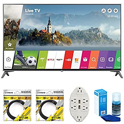 "LG 49"" Super UHD 4K HDR Smart LED TV 2017 Model (49UJ7700) with 2x 6ft High Speed HDMI Cable Black, Transformer Tap USB w/ 6-Outlet Wall Adapter and 2 Ports & Screen Cleaner for LED TVs"