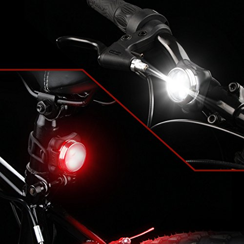 Ascher USB Rechargeable Bike Light Set,Super Bright Front Headlight and Free Tail Light, 4 Light Mode Options, 650mah Lithium Battery, Water Resistant IPX4(2 USB Cables and 4 Strap Included) by Ascher (Image #4)